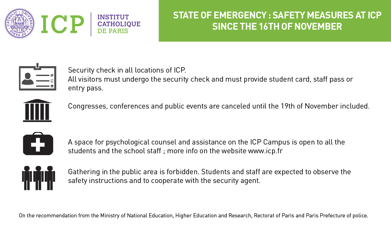 Campus life  Safety Measures in force at ICP